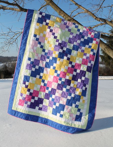 Colorful 4-Patch twin Quilt